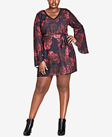 City Chic Trendy Plus Size Rose-Print Dress
