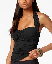 La Blanca Island Goddess Shirred Convertible Tankini Top