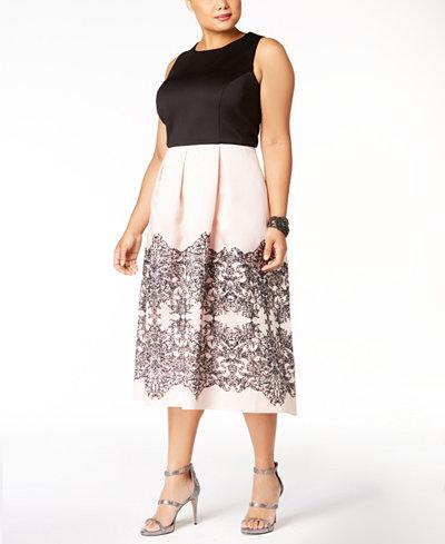 SL Fashions Plus Size Colorblocked Midi Dress