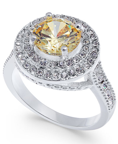 Charter Club Silver-Tone Pavé & Yellow Stone Ring, Created for Macy's
