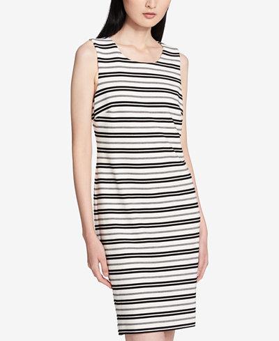 Calvin Klein Striped Sleeveless Sheath Dress