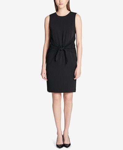Calvin Klein Tie-Front Pinstriped Dress