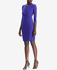 Lauren Ralph Lauren Keyhole Faux-Wrap Dress, Regular & Petite Sizes