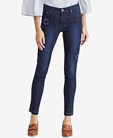 Lauren Ralph Lauren Floral-Embroidered Premier Skinny Jeans