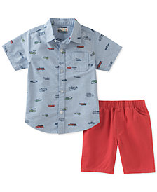 Kids Headquarters 2-Pc. Cotton Printed Chambray Shirt & Shorts Set, Baby Boys