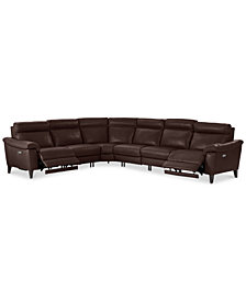 CLOSEOUT! Pirello 6-Pc. Leather Sectional Sofa With 2 Power Recliners with Power Headrests and USB Port, Created for Macy's