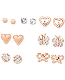 7-Piece Set Polished & Crystal Stud Earrings in 18k Rose Gold-Plated Sterling Silver