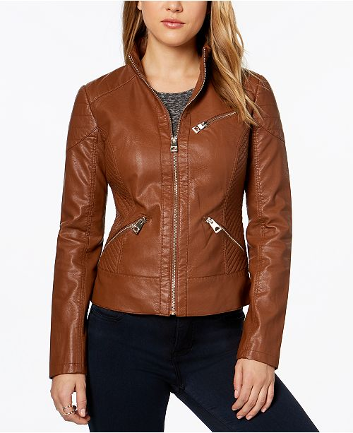 9b0c1f41902 GUESS Faux-Leather Quilted Moto Jacket & Reviews - Coats - Women ...