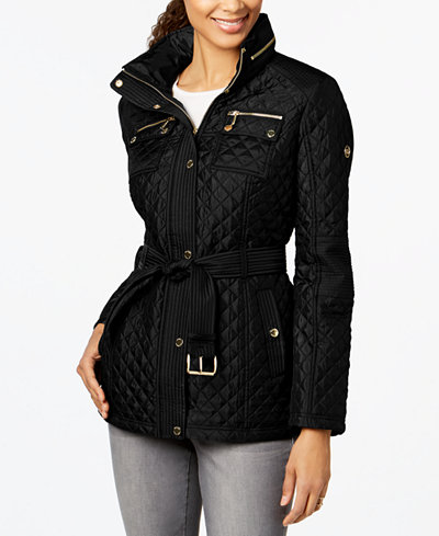 Michael Michael Kors Hooded Belted Quilted Coat Coats Women Macys