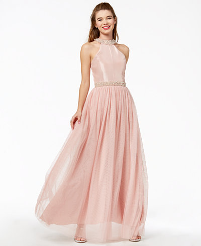 Speechless Juniors' Imitation-Pearl Halter Gown, Created for Macy's