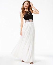 Speechless Juniors' Lace Infinity-Waist Gown, Created for Macy's