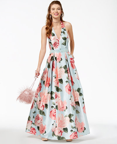 Teeze Me Juniors' Printed Satin Halter Gown, Created for Macy's