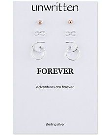 Unwritten Two-Tone 3-Piece Set Stud and Hoop Earrings in Sterling Silver & Rose Gold-Flashed Sterling Silver
