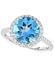 Blue Topaz (4 ct. t.w.) & Diamond (1/2 ct. t.w.) Ring in 14k White Gold