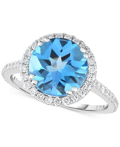 Blue Topaz (4 ct. t.w.) & Diamond (1/2 ct. t.w.) Ring in 14k White Gold