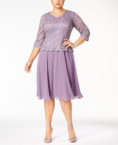 Alex Evenings Plus Size Scalloped Lace A-Line Dress
