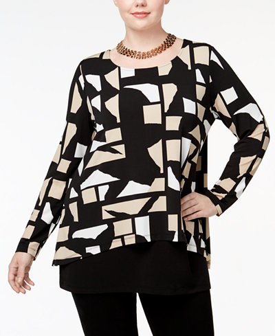 Alfani Plus Size Printed Split-Back Tunic, Created for Macy's