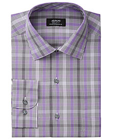 Alfani Men's Classic/Regular Fit Performance Stretch Easy-Care Square Line Check Dress Shirt, Created for Macy's