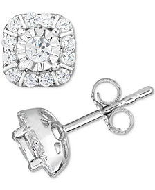 Diamond Square Cluster Stud Earrings (1/2 ct. t.w.) in 14k White Gold