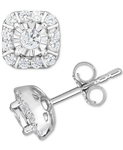 Macy's Diamond Square Cluster Stud Earrings (1/2 ct. t.w.) in 14k White Gold