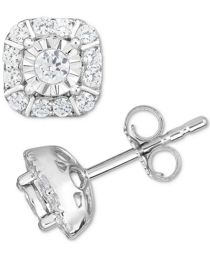 Macy's - Diamond Square Cluster Stud Earrings (1/2 ct. t.w.) in 14k White Gold