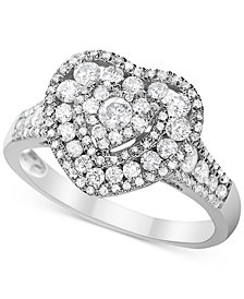 Diamond Heart Cluster Ring (1 ct. t.w.) in 14k White Gold