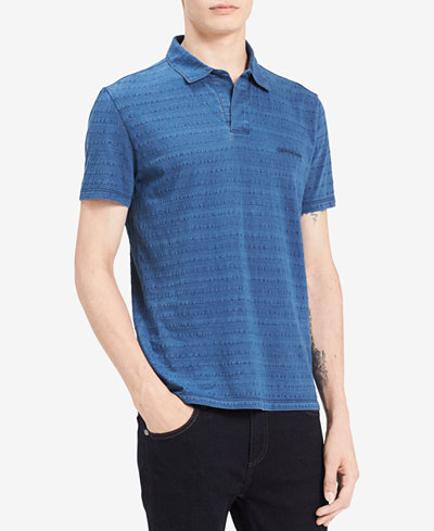 Calvin Klein Jeans Men's Textured-Stripe Johnny-Collar Polo
