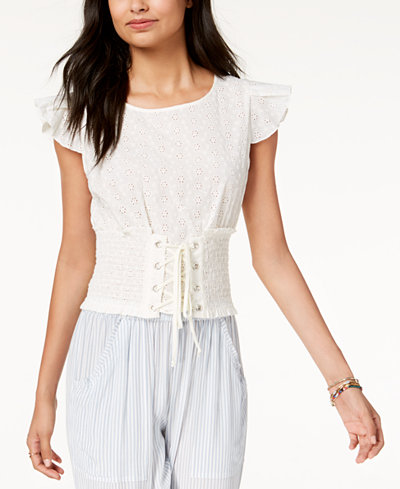 American Rag Juniors' Cropped Eyelet Corset Top, Created for Macy's
