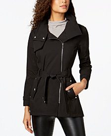 MICHAEL Michael Kors Hooded Belted Asymmetrical Softshell Coat