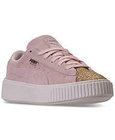 Puma Little Girls' Suede Platform Glam Casual Sneakers from Finish Line