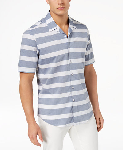 Club Room Men's Striped Camp Shirt, Created for Macy's