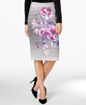 Eci Floral-Print Pencil Skirt thumbnail