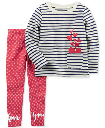 Carter's 2-Pc. Striped Cotton Top & Leggings Set, Little Girls & Big Girls