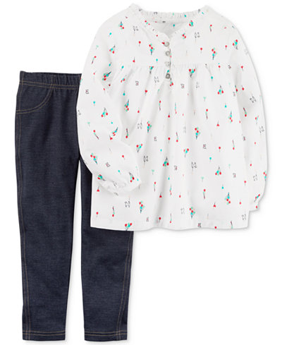 Carter's 2-Pc. Printed Top & Leggings, Toddler Girls