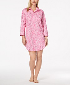 Cotton Roll Cuff Sleepshirt Nightgown