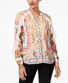 Thalia Sodi Printed Ruffled Blouse, Created for Macy's
