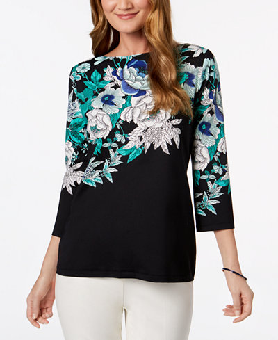 Charter Club Petite Placed Floral-Print Top, Created for Macy's