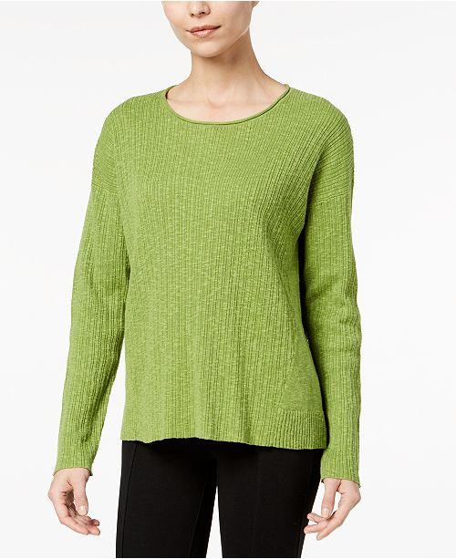 41cea8d0f4d Eileen Fisher Organic Cotton Linen Blend Scoop-Neck Sweater