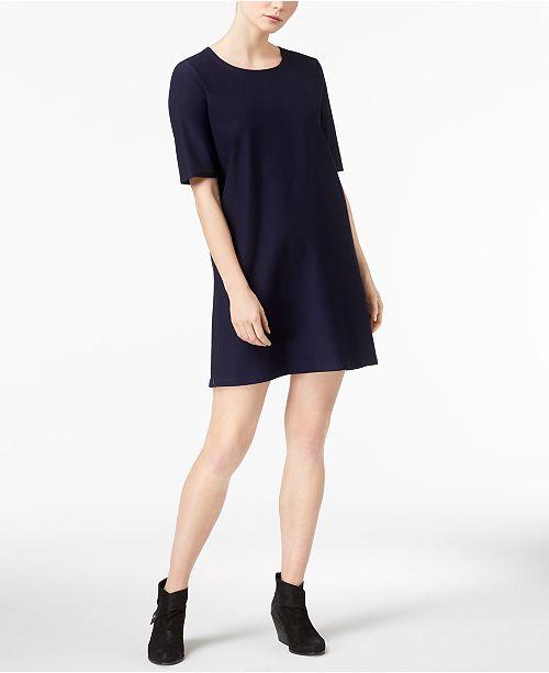 Washable Crepe Pullover Short-Sleeve Shift Dress, Regular & Petite