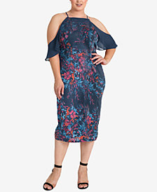 standards and practices Plus Size Cora Floral-Print Cold-Shoulder Dress