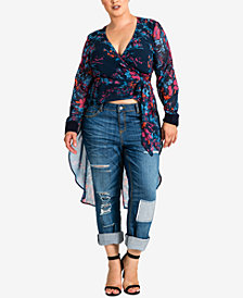 standards and practices Plus Size Haliyah Floral-Print Wrap Top