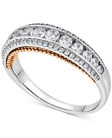 Diamond Two-Tone Ring (3/4 ct. t.w.) in 14k White and Rose Gold