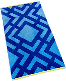Martha Stewart Collection Diamond Cotton Geo-Print Beach Towel, Created for Macy's