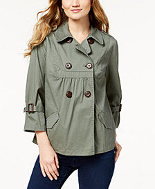 Style & Co Double-Breast Swing Jacket, Created for Macy's