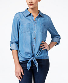 Style & Co Tie-Hem Denim Shirt, Created for Macy's