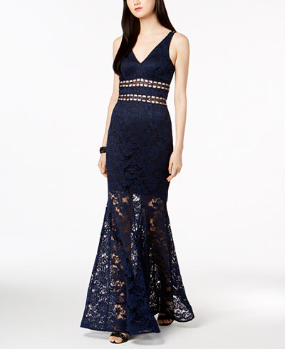 Xscape Cutout Lace Overlay Gown