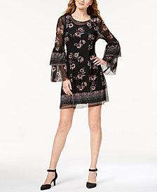 Style & Co Petite Printed Mesh Lantern-Sleeve Dress, Created for Macy's