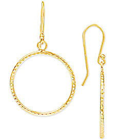 Giani Bernini Textured Drop Hoop Earrings in Sterling Silver, Created for Macy's