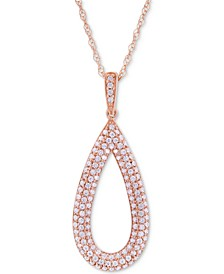 Diamond Pavé Teardrop Pendant Necklace (1/2 ct. t.w.) in 14k Rose Gold, Created for Macy's