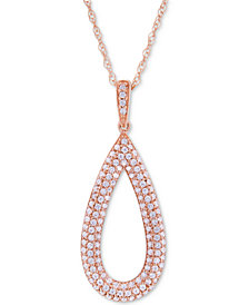 Wrapped in Love™ Diamond Pavé Teardrop Pendant Necklace (1/2 ct. t.w.) in 14k Rose Gold, Created for Macy's